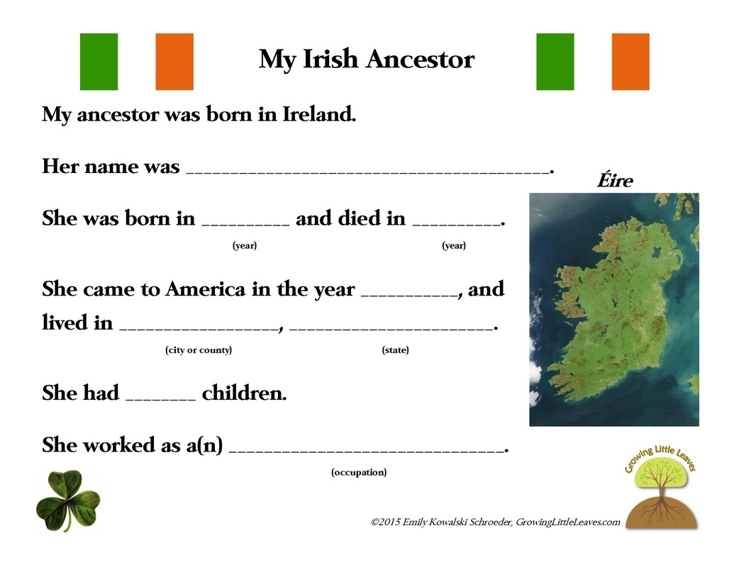 My Irish Ancestor FREE Worksheets // GrowingLittleLeaves.com