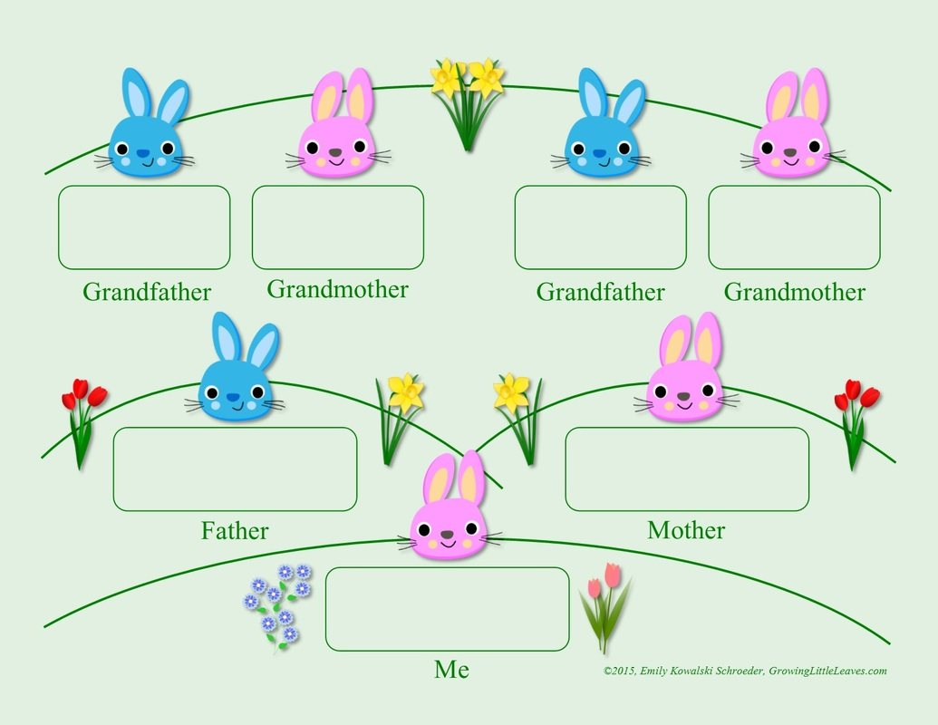 Spring Bunny Family Tree FREE Printable from GrowingLittleLeaves.com