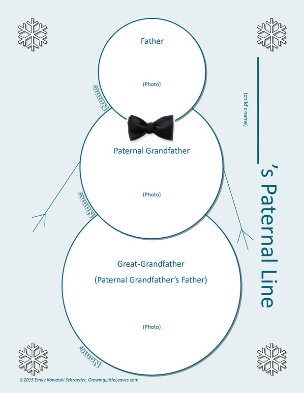 Paternal Line Snowman Worksheet // GrowingLittleLeaves.com