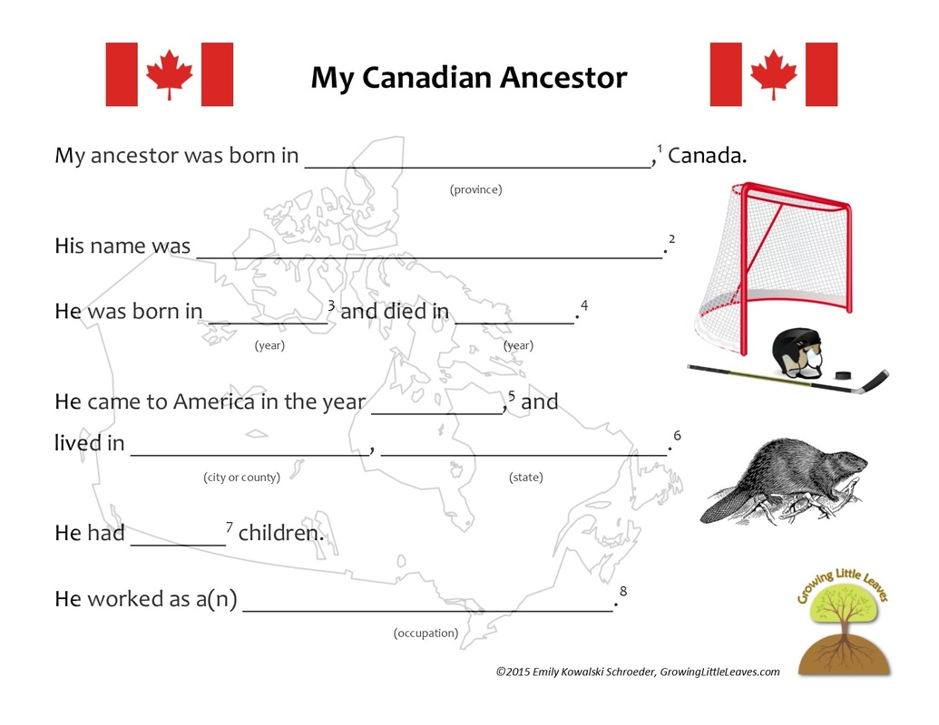 My Canadian Ancestor FREE Worksheet from GrowingLittleLeaves.com
