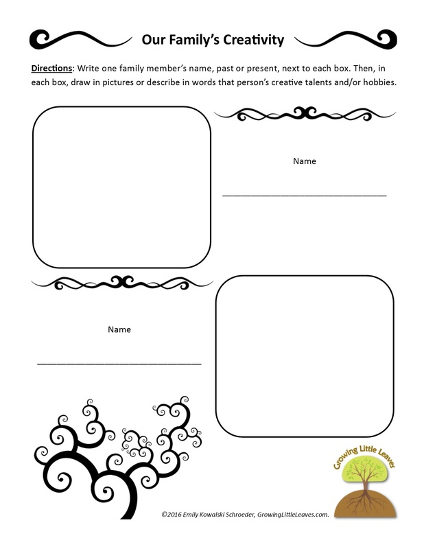 Celebrating Family Creativity with FREE Worksheets from GrowingLittleLeaves.com