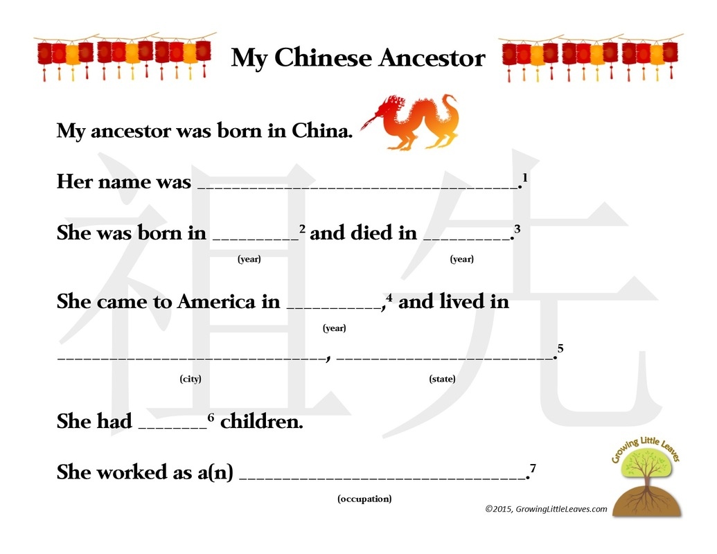 Ancestor Worksheets // GrowingLittleLeaves.com