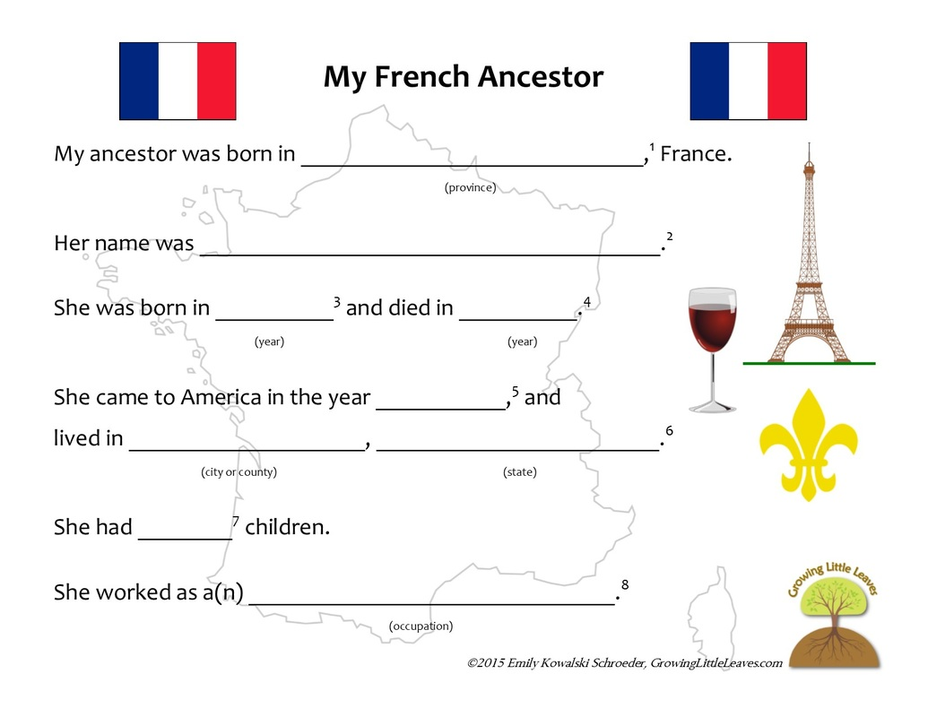 My French Ancestor FREE Worksheets // GrowingLittleLeaves.com
