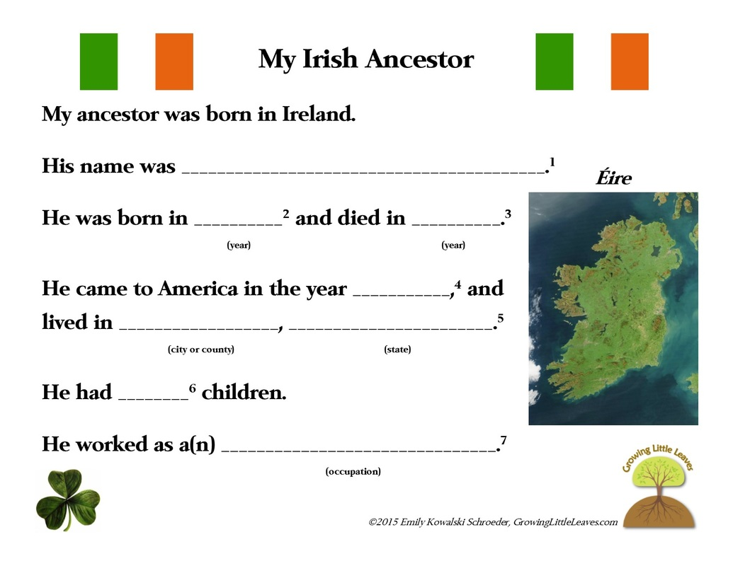My Irish Ancestor FREE Worksheet // GrowingLittleLeaves.com