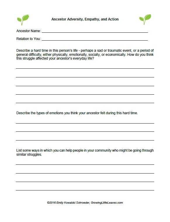 Ancestor Adversity, Empathy and Action FREE Worksheet from GrowingLittleLeaves.com