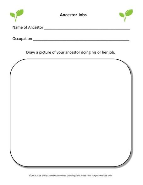 Ancestor Jobs FREE Worksheet by GrowingLittleLeaves.com