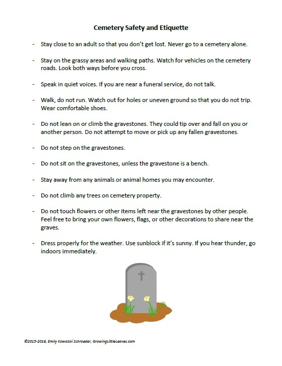 Cemetery Safety and Etiquette Handout for Kids FREE Handout from GrowingLittleLeaves.com