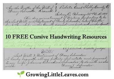 10 FREE Cursive Handwriting Resources from GrowingLittleLeaves.com