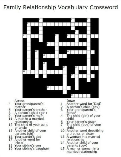 Family Vocabulary Crossword Puzzle // GrowingLittleLeaves.com