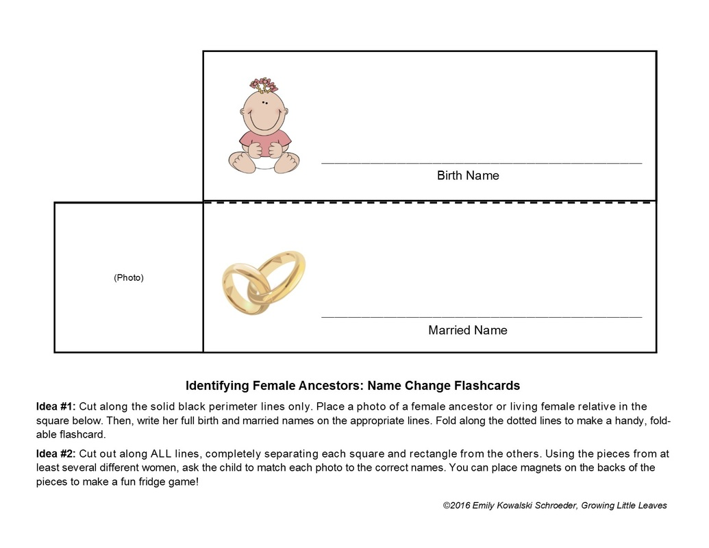Identifying Female Ancestors: Name Change Flashcards & Matching Game from GrowingLittleLeaves.com