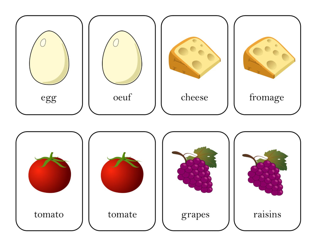 French - English Food Matching Game from GrowingLittleLeaves.com