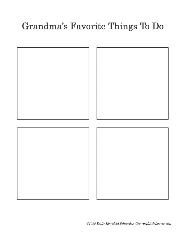 Grandparent Favorite Things to Do FREE Worksheet // GrowingLittleLeaves.com
