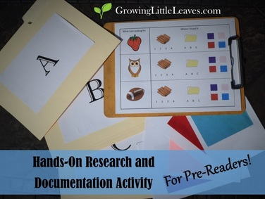 Hands-On Research and Documentation Activity for Pre-Readers from GrowingLittleLeaves.com