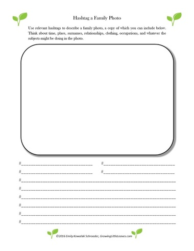 Hashtag a Family Photo FREE Worksheet from GrowingLittleLeaves.com