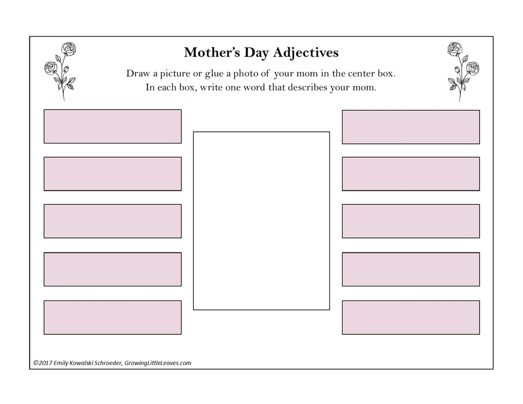 Mother's Day Adjectives FREE Worksheet from GrowingLittleLeaves.com