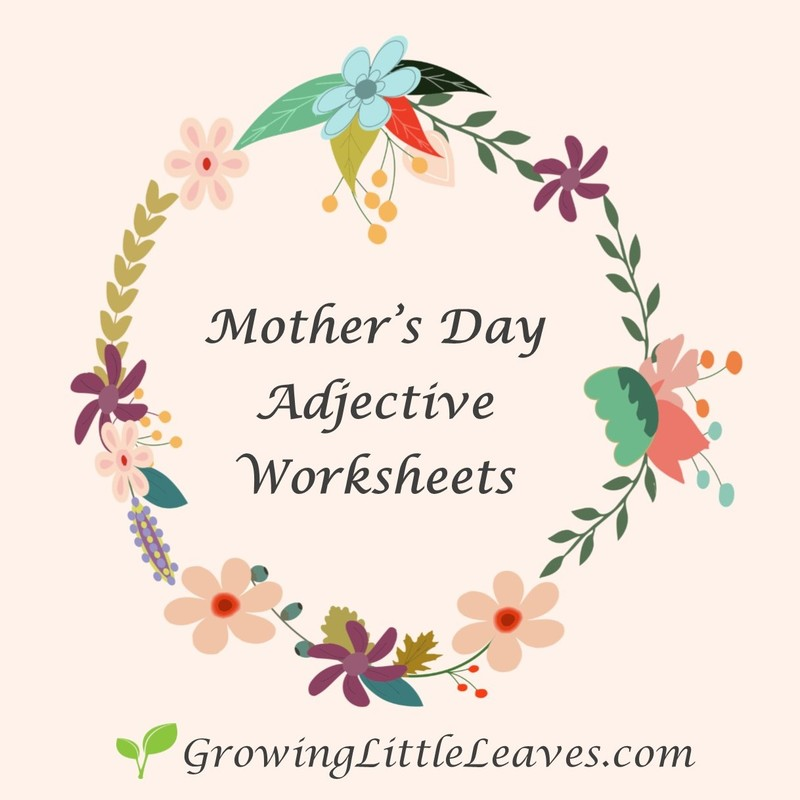 FREE Mother's Day Adjective Worksheets from GrowingLittleLeaves.com