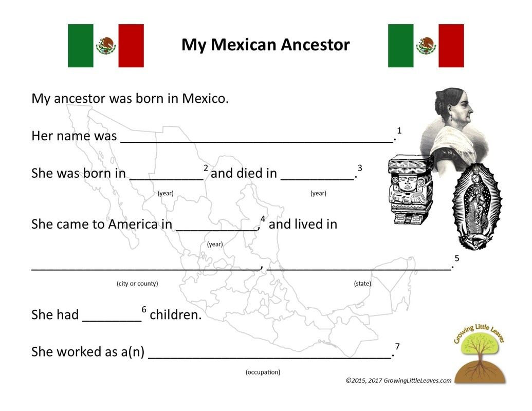 My Mexican Ancestor FREE Worksheets from GrowingLittleLeaves.com