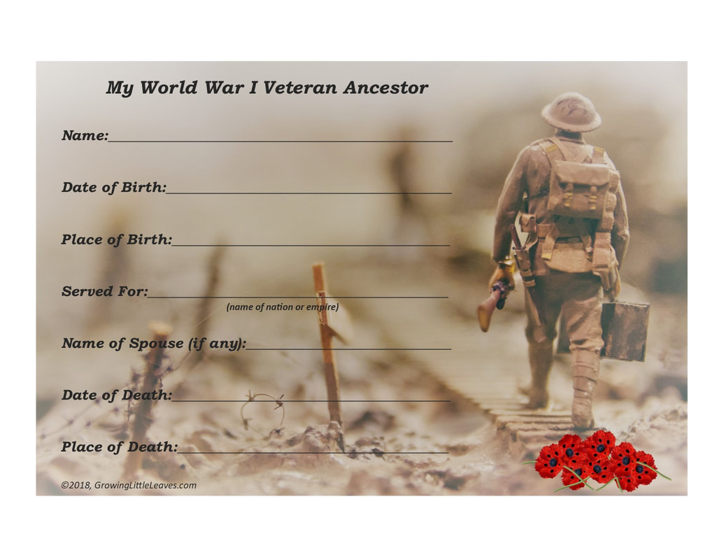 My WWI Veteran Ancestor Worksheet // GrowingLittleLeaves.com