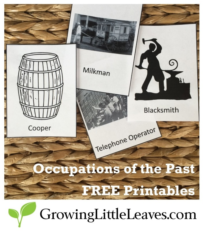 Occupations of the Past FREE Printable Cards from GrowingLittleLeaves.com