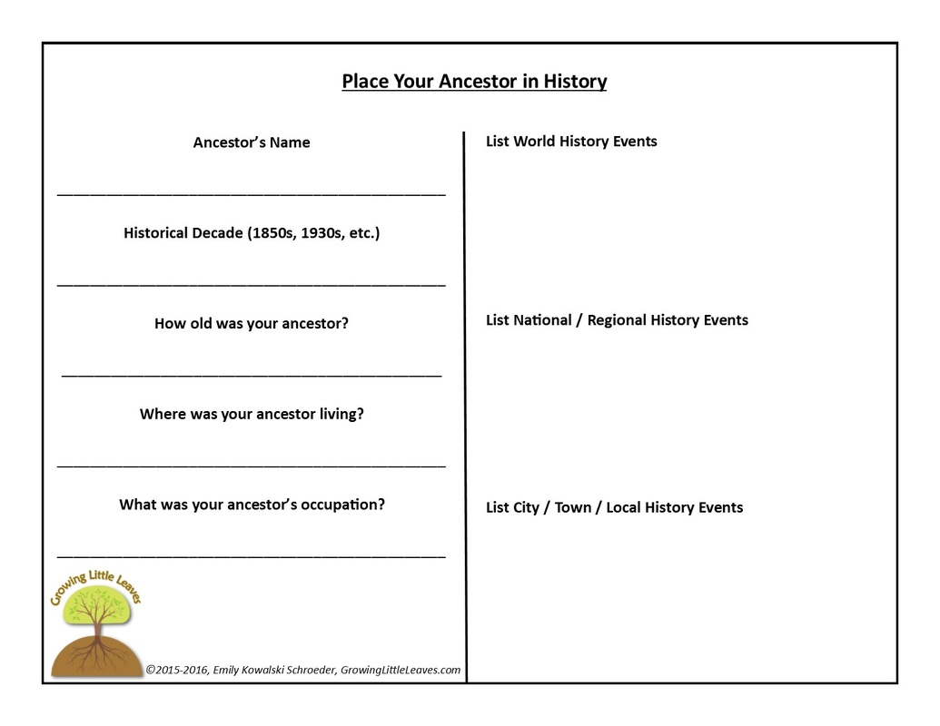 Place Your Ancestor in History FREE Worksheet by GrowingLittleLeaves.com