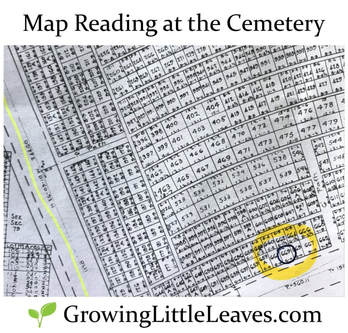 Map Reading at the Cemetery // GrowingLittleLeaves.com